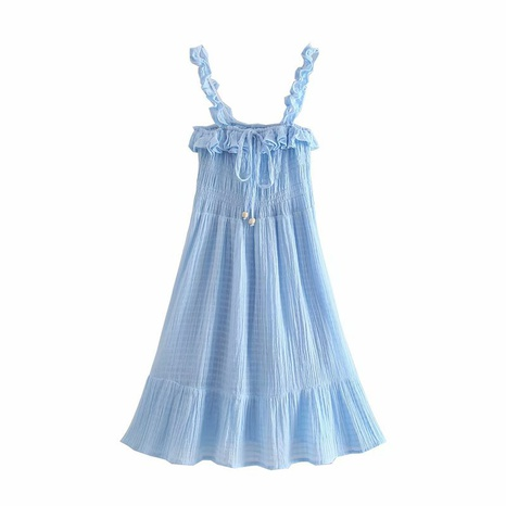 wholesale retro solid color folded suspender dress NHAM360769's discount tags