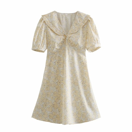 wholesale fashion collar pleated short-sleeved dress  NHAM360771's discount tags