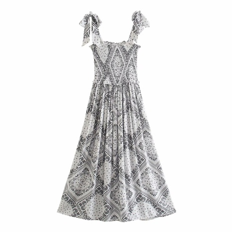 wholesale retro ink painting pattern bow tie dress  NHAM360772's discount tags