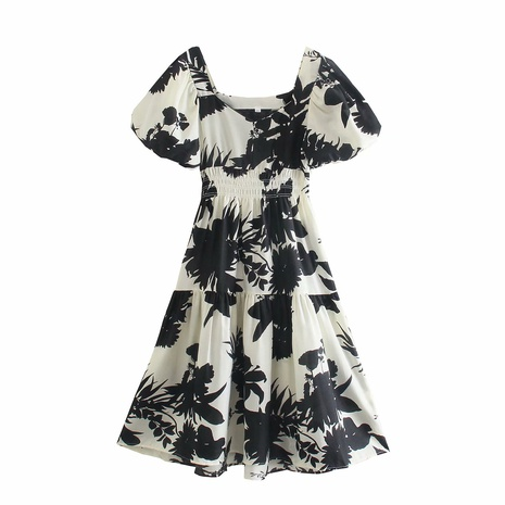 wholesale fashion square neck pleated puff sleeve printing dress  NHAM360774's discount tags
