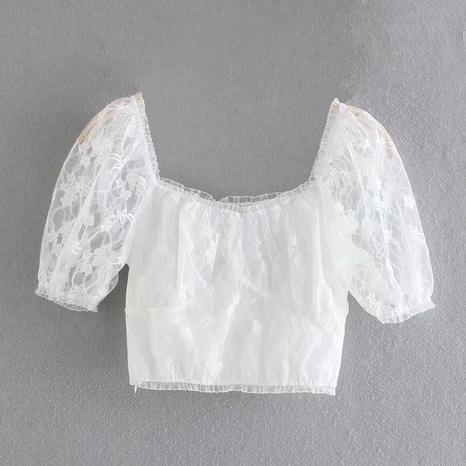 fashion puff sleeve square neck mesh top  NHAM360775's discount tags