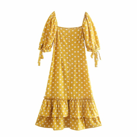 wholesale fashion yellow polka dot cuffs fishtail dress  NHAM360776's discount tags