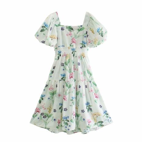 wholesale fashion square neck printing mid-sleeve long dress  NHAM360778's discount tags