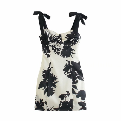 wholesale fashion bowknot decorated printed suspender dress  NHAM360779's discount tags