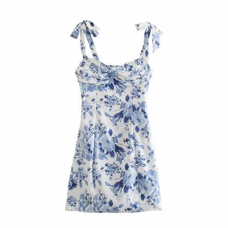 wholesale fashion waist elastic bow print suspender dress  NHAM360780's discount tags