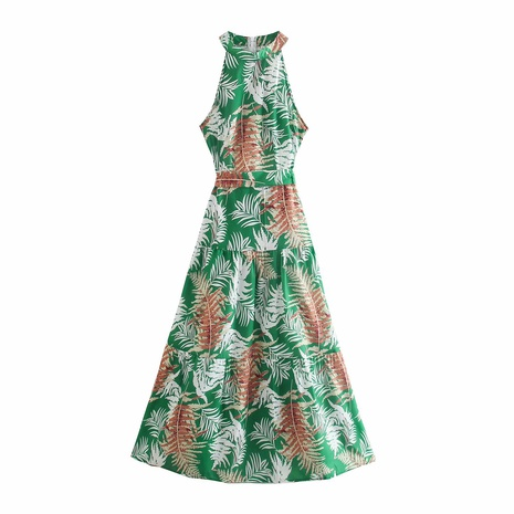 wholesale fashion printing halter neck bow tie long dress  NHAM360781's discount tags