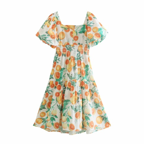 wholesale retro square neck fruit printing strapless dress NHAM360782's discount tags