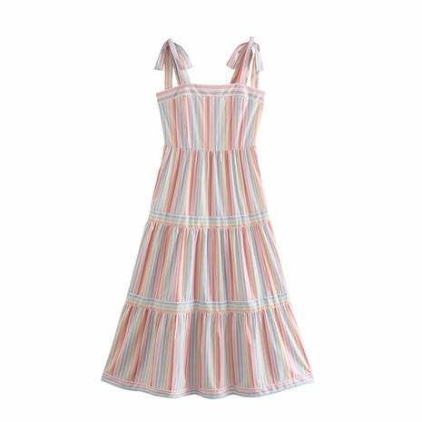 wholesale fashion vertical stripes printed shoulder strap dress  NHAM360784's discount tags