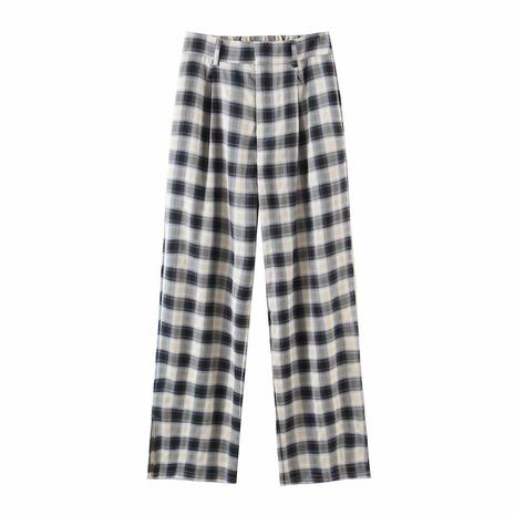 Wholesale Fashion Plaid Printing Split Pants  NHAM360785's discount tags