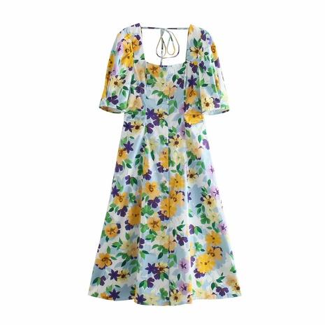 wholesale fashion flower printing square collar dress NHAM360786's discount tags