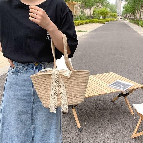 sac à bandoulière décontracté en paille tissée à nœud papillon de grande capacité NHTG360790's discount tags