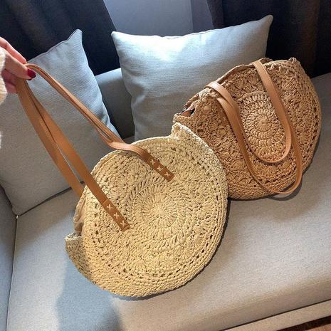 Grand sac portable à une épaule en paille tissée de style ethnique NHTG360791's discount tags