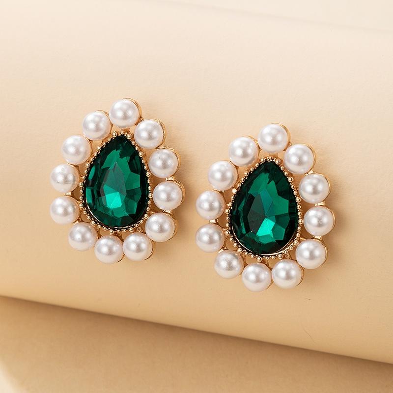 Retro simple pearl sapphire blue drop earrings NHGY361091