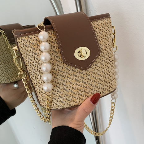 Sac de messager en paille de chaîne en métal perlé de couleur contrastante rétro NHTG360839's discount tags