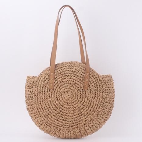 nouveau sac à bandoulière rond en paille tissée en gros NHTG360842's discount tags