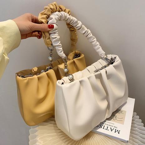 Petit sac carré de messager à une épaule avec chaîne de perles portable à la mode NHTG360856's discount tags