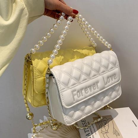 petit sac carré simple de messager d'une épaule de chaîne de perles de losange de couleur pure NHTG360859's discount tags