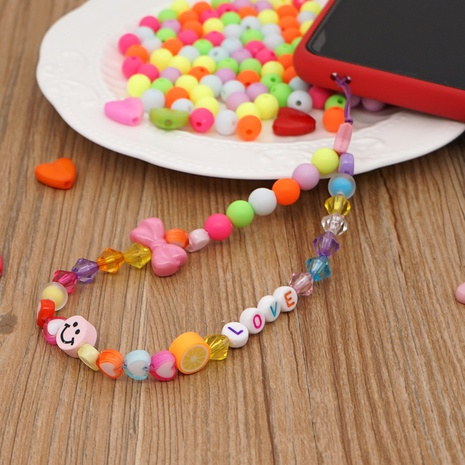 Love acrylic crystal beads soft pottery smiley face LOVE letter short mobile phone lanyard NHYUZ360908's discount tags