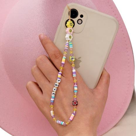 Bohemian smiley ceramic phone chain LOVE letter crystal handmade beaded mobile phone lanyard NHYUZ360905's discount tags