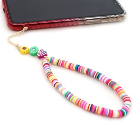 Mobile phone chain 6mm soft clay tablet rainbow short mobile phone lanyard bohemian jewelry NHYUZ360906's discount tags
