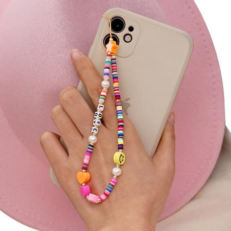 Rainbow smiley ceramic mobile phone lanyard Bohemia LOVE letter pearl beaded mobile phone chain NHYUZ360913's discount tags
