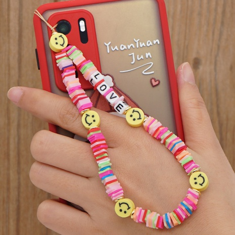 Beaded mobile phone chain LOVE irregular rainbow smiley soft pottery short mobile phone lanyard NHYUZ360914's discount tags