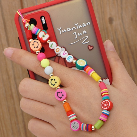 Mobile phone hanging jewelry Bohemian colored pottery LOVE letter beaded anti-lost mobile phone chain  NHYUZ360917's discount tags