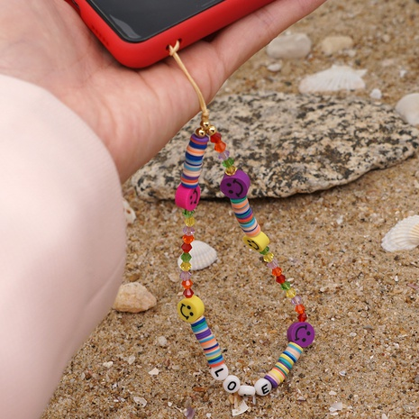 Acrylic LOVE letter anti-lost mobile phone chain rainbow smiley soft pottery short crystal mobile phone lanyard NHYUZ360911's discount tags