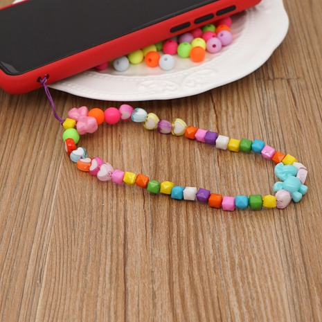 Mobile phone chain candy color love acrylic beads short mobile phone lanyard  NHYUZ360919's discount tags