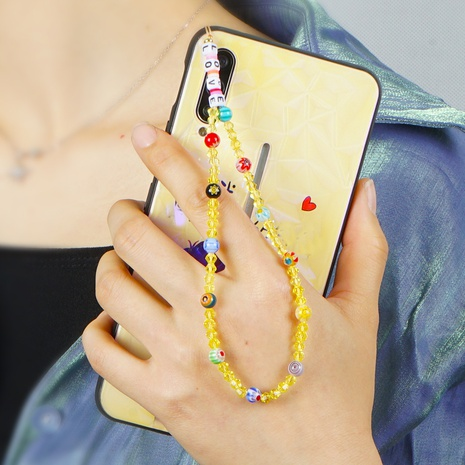 Glass flower beads LOVE letter beads short crystal mobile phone lanyard anti-lost mobile phone chain NHYUZ360910's discount tags