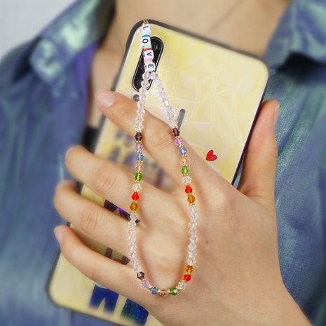 Bohemian anti-lost mobile phone chain acrylic LOVE letter beads short rainbow crystal mobile phone lanyard  NHYUZ360915's discount tags