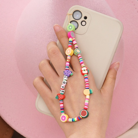 Hand-made woven LOVE letter beaded anti-lost mobile phone chain fruit rainbow soft ceramic mobile phone lanyard NHYUZ360907's discount tags