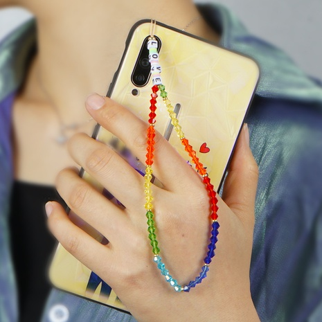 Bohemian style LOVE letter beads short rainbow crystal mobile phone lanyard anti-lost mobile phone chain NHYUZ360916's discount tags