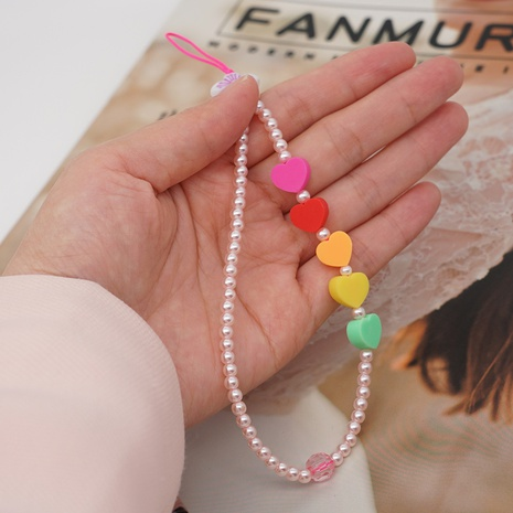 Beaded imitation pearl anti-lost mobile phone chain short soft pottery love mobile phone lanyard  NHYUZ360921's discount tags