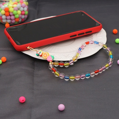 Mobile phone chain candy color acrylic beads soft pottery fruit short mobile phone lanyard NHYUZ360920's discount tags