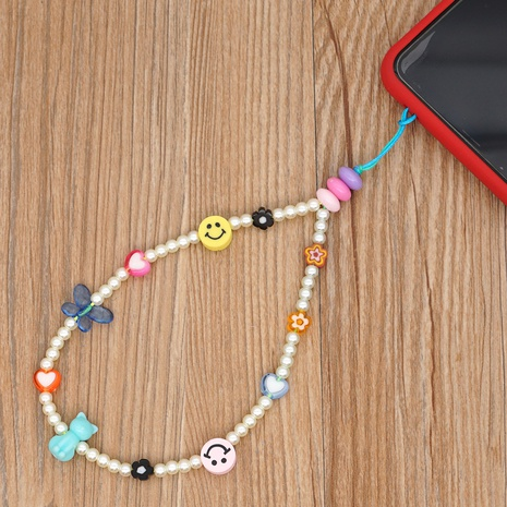 Imitation pearl smiley soft pottery love beaded mobile phone lanyard  NHYUZ360924's discount tags