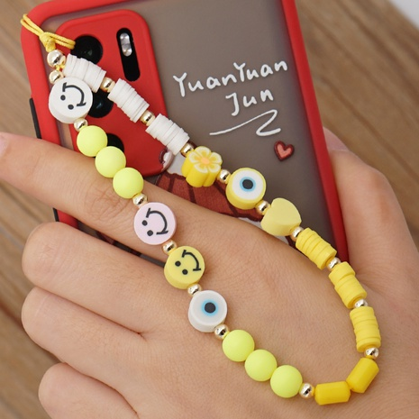 Pure color smiley soft pottery mobile phone lanyard devil's eye beaded anti-lost mobile phone chain NHYUZ360926's discount tags