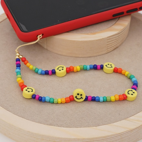 Smiley soft pottery rainbow millet beaded mobile phone lanyard  NHYUZ360927's discount tags