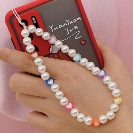 Pearl beaded anti-lost mobile phone chain short acrylic love mobile phone lanyard NHYUZ360928's discount tags