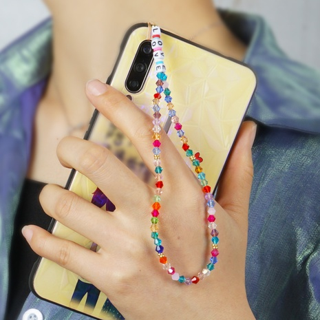 Candy color anti-lost mobile phone chain acrylic LOVE letter beads short rainbow crystal mobile phone lanyard NHYUZ360929's discount tags
