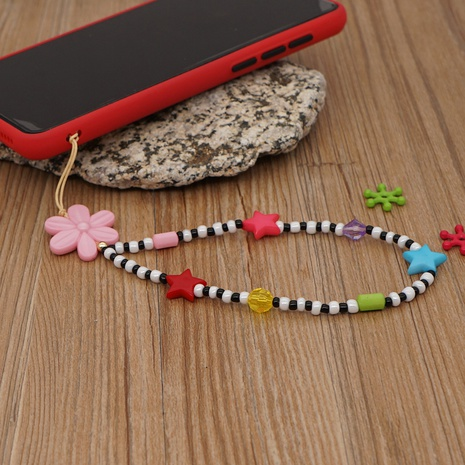 Bohemia star black and white glass millet beads beaded mobile phone lanyard  NHYUZ360931's discount tags
