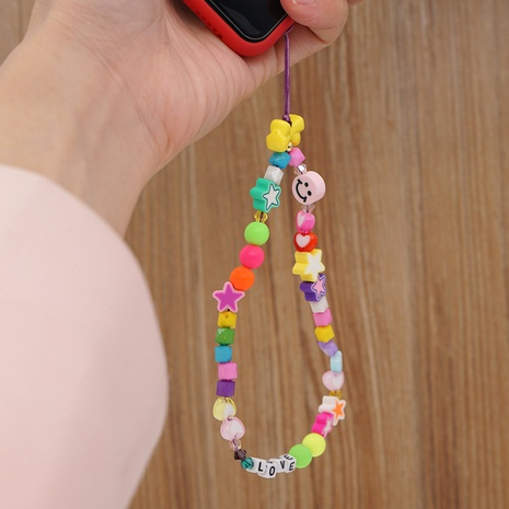 DIY letters LOVE mobile phone lanyard hanging neck smiling soft pottery key rope NHYUZ360930's discount tags