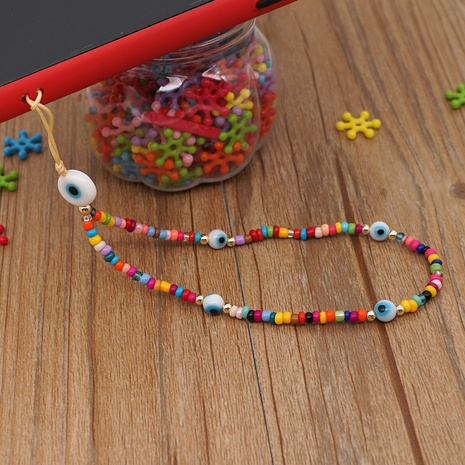 Colored glaze eye beads mobile phone chain rainbow millet beads beaded mobile phone lanyard  NHYUZ360932's discount tags