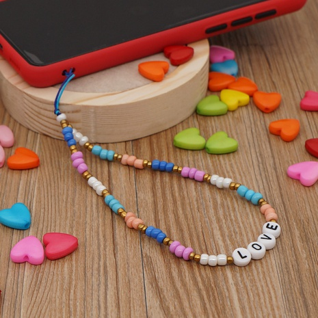 Hand-made woven LOVE letter beaded mobile phone chain rainbow millet beads mobile phone lanyard NHYUZ360933's discount tags