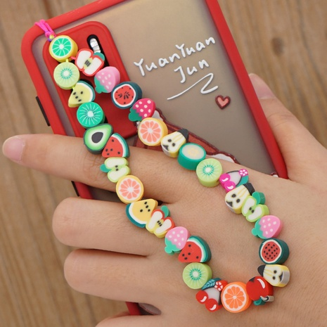 Irregular mixed color pottery fruit series beaded mobile phone chain  NHYUZ360935's discount tags