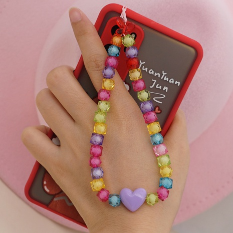 Acrylic candy color mobile phone chain love short mobile phone lanyard hand jewelry NHYUZ360936's discount tags