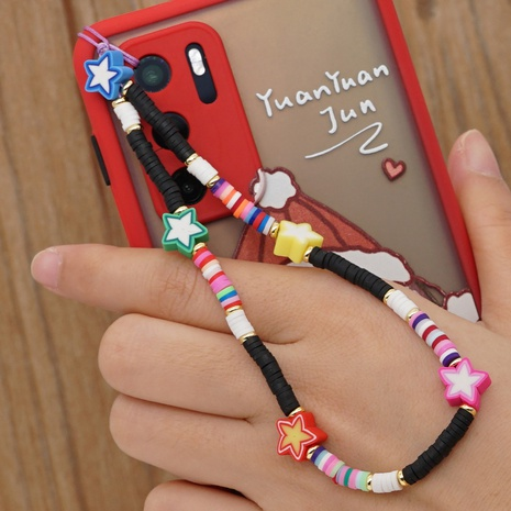 Bohemian rainbow soft ceramic mobile phone lanyard star braided beaded mobile phone chain NHYUZ360937's discount tags