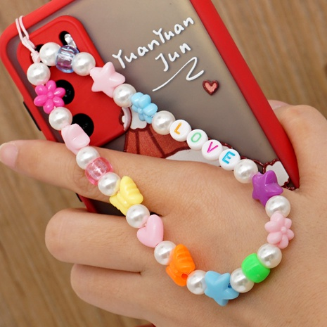 Pearl anti-lost mobile phone chain hanging jewelry LOVE letter beads pottery mobile phone lanyard NHYUZ360939's discount tags