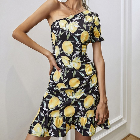 Printed Lemon Skirt Slant Shoulder Dress NHZN361033's discount tags