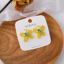 Korean handwoven yellow beaded butterfly earrings  NHMS369963